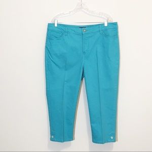 NYDJ Brandi Cropped Capri Jeans Aquamarine 16